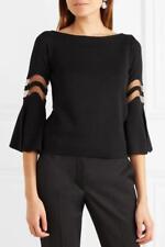 Oscar de la Renta Black Wool/Silk Tulle Cut-Out Bell Sleeve Sweater Size XS