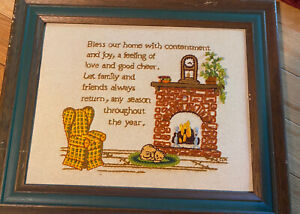 Vintage Cat Home Fireplace Saying Embroidery Handmade Needlework Crewel Framed
