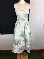 "Coast ""Elia"" Princess Strapless Dress Ivory Silver Thread Floral Print Size 10"
