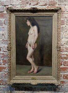 John Bond Francisco -Nude Portrait of a19th century Peasant Woman -Oil painting
