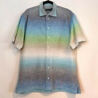 St Croix Mens Gradient Pastel Short Sleeve Button Up Made Italy Shirt Top XL