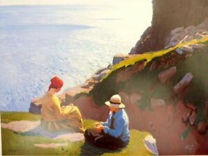ON THE CLIFFS TWO GIRLS - LAURA KNIGHT - IN IVORY MOUNT 12 x 10 PERFECT