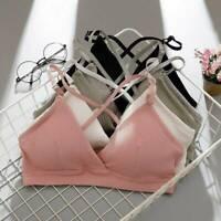 Women's Cotton Triangle Strappy Bralette Push-up Padded Bra Crop Tops Underwear