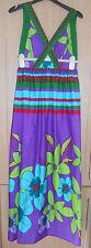 Ethel Austin Bright Vibrant Multi Print Long Strappy Silky Maxi Dress size 10