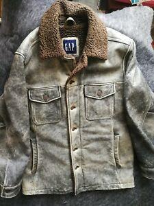 Gap Men's Leather Jacket M black distressed and brown sheepskin type collar