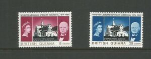 British Guiana 1966 Churchill Commemoration Very Light Mounted Mint SG 374/5