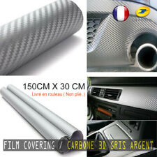 COVERING FILM CARBONE GRIS ARGENT 3D  ADHESIF VINYLE THERMOFORMABLE 150CMX30CM