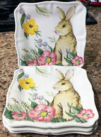 Maxcera Spring Garden Rabbit Easter Bunny Square Salad Side Plates Set of 4