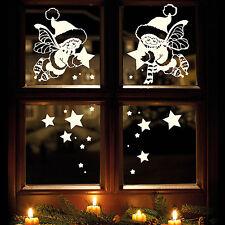 10988 Sticker mural Fenêtre Autocollant hiver ELFES AVEC ETOILES (Couleur Blanc)