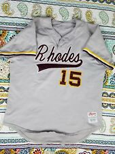 Rhodes College Lynx Vintage Authentic Baseball Jersey Sz Xl 80s Rip On Game Used