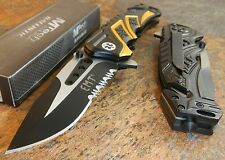 MTech BALLISTIC Assisted Opening Rescue EMT BLACK Glass Breaker RESCUE Knife NEW