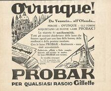 W0812 Lame PROBAK per qualsiasi rasoio Gillette - Pubblicità 1932 - Advertising