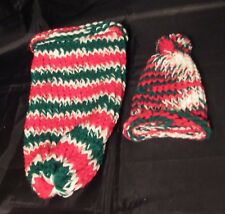 Reborn baby doll red green striped cocoon & hat set Photo prop swaddler papoose
