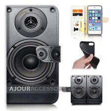 ( For iPod Touch 6 ) Wallet Flip Case Cover AJ21057 Speaker Pattern