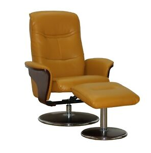 Milano Leather Swivel Recliner and Ottoman, Mikado Yellow