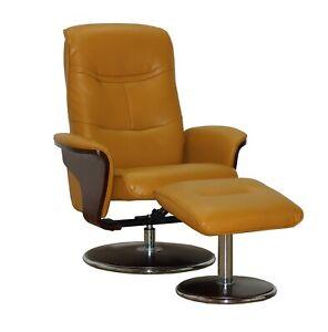 Milano Leather Swivel Recliner and Ottoman, Mikado Yellow