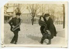 Man Playing Saxophone As Couple Dances in the Snow Vintage 1920s Photo