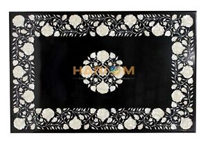 3'x2' Marble Dining Table Top Mother of Pearl Marquetry Floral Inlay Decors B179