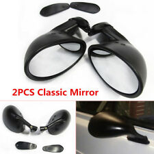 2PCS L+R Universal Classic Car Door Side View Mirror Gaskets Vintage Matte Black