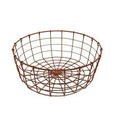 Round Metal Wire Fruit Basket Wire Egg Basket Country Vintage Gathering Basket