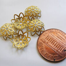FIFTY Solid Brass, Unplated, Filigree Flower Bead Caps 10.5x3.5mm  Antique Gold