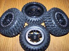 4- 1/10 Traxxas Raptor 2wd BF Goodrich Tires 12mm Black Split Spoke Wheels Slash