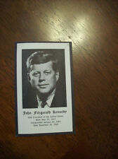John F Kennedy Funeral Prayer Card. Excellent Condition