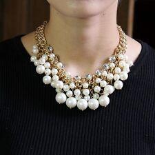 Collar Mujer Corto Perla Blanco Cristal Estilo Moderno Noche Matrimonio FUN 3