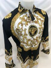 Mens PREMIERE Long Sleeve Button Down Dress Shirt BLACK GOLD LEAF ABSTRACT 509