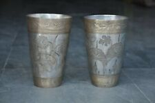 2 Pc Old Brass Handcrafted Inlay Engraved Heavy Lassi/Milk Glass , Nice Patina