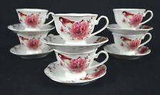 BIRD AND PINK BLOOMED ROSE, NEW BONE CHINA, SET OF SIX TEA CUPS & SIX SAUCERS
