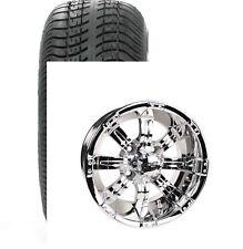 "Set of (4) Sti 12"" Chrome Ss Golf Cart Car Rim Wheels & Low Profile Tires"