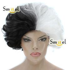 Cruella Deville Cosplay Wig Costume Black White Synthetic Hair Short Wavy Wigs