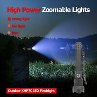 200000LM XHP70 LED USB Rechargeable 18650 Zoomable Super Bright Torch Flashlight
