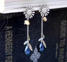 Silver Betsey Johnson Pearl Flower Dangle Earrings Girl Fashion Wedding Jewelry