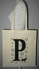 Foldable Shopping Bag, Horse Cotton Tote Shopper Bag. Bold Initial A to Z letter