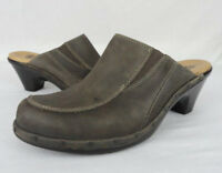 SOFFT Womens 8 M Taupe Brown Nubuck Leather Casual Slip On Clog Shoes 1506340