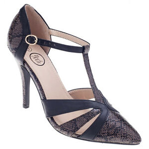 New Black Gray T strap ankle High heel pump Stiletto Pointed women shoe all Size
