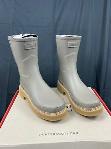 Hunter Refined Stitch Detail Wellington Women Boots Fashion Rain Boots Grey 9 US