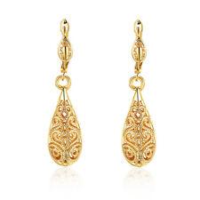 Women Fashion White Gold Plated Filigree Water Drop Leverback Dangle Earring ONE
