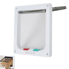 "4 Way Lockable Pet Flap Door For Cat Entry & Exit 5.7"" x 6.1"" White"