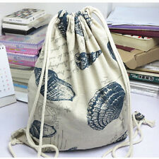 Cotton Linen Drawstring Travel Backpack Student Book Bag Sea Snail Shell 824-2 S