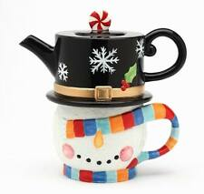 "60913 ""No Peeking"" Christmas Snowman Tea-For-One Set Teapot Cup Mug Party Gift"