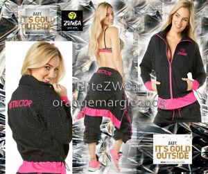 Zumba INSTRUCTOR ZipUp Jacket Jumper Cardigan GOLD Foil Dotted Print XS,S,M.L,XL