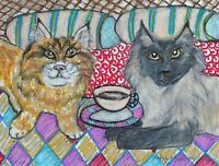 Siberian Cat Drinking Coffee Pop Art Print 8x10 Signed by Artist Limited Edition