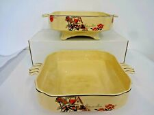 2 x vintage j&g meakin sylvania 2 handled square serving casserole footed dishes
