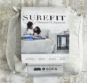 Surefit Relaxed Fit Sofa Slipcover Farmhouse Basketweave Oatmeal - OPEN BOX