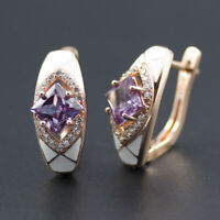 women's alexandrite 925 sterling silver white enamel color change earrings new