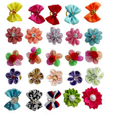 100PCS Assorted Pet Hair Bows W/Rubber Bands Dog Cat Headdress Jewelry Grooming