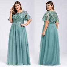 Ever-Pretty Short Sleeve A Line Chiffon Long Bridesmaid Prom Dress Wedding Gown